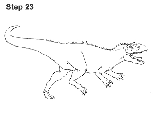 How to Draw Allosaurus Dinosaur Running Mouth Teeth 23