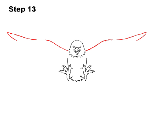 How to Draw Angry Cartoon Bald Eagle Flying Wings Talons 13