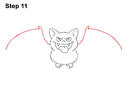 How to Draw Angry Funny Cute Halloween Cartoon Bat 11