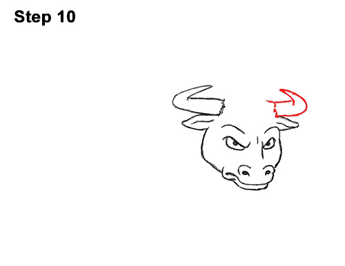 Draw Angry Mean Big Charging Cartoon Bull 10