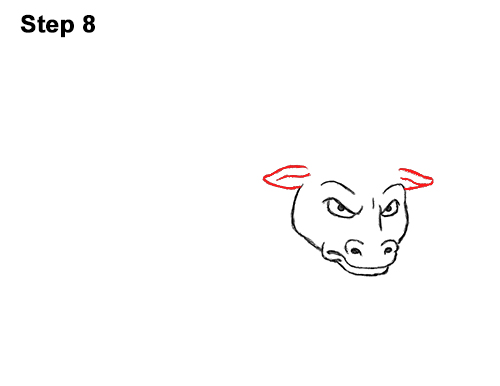 Draw Angry Mean Big Charging Cartoon Bull 8
