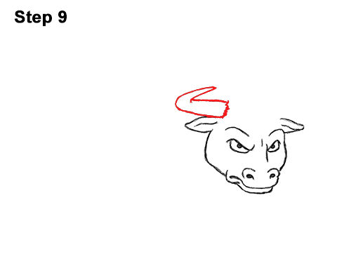 Draw Angry Mean Big Charging Cartoon Bull 9