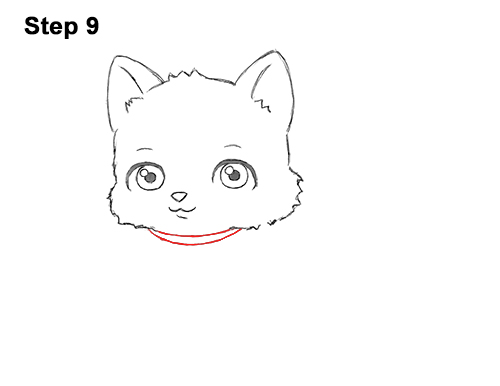 Draw White Cartoon Cat Kitten Kitty 9