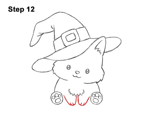 How To Draw A Cat Wearing A Witch S Hat For Halloween