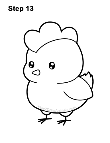 How to Draw a Chicken (Cartoon) VIDEO & Step-by-Step Pictures