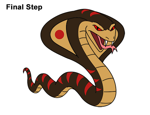 Draw Cartoon Mean Angry Cobra Snake