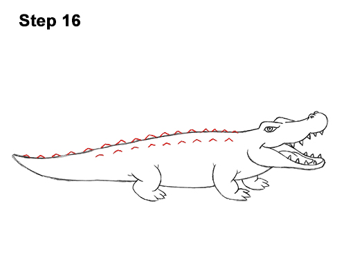 How to Draw Angry Cartoon Crocodile Alligator Smile 16