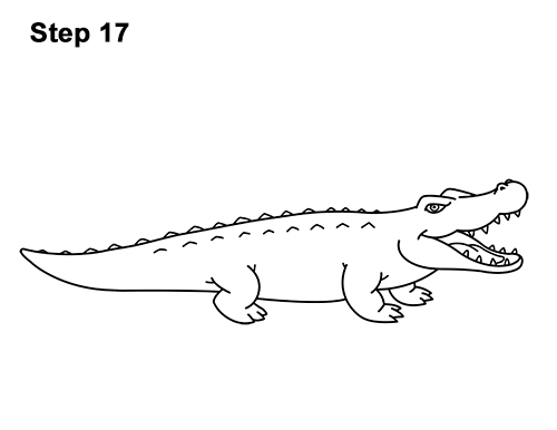 How to Draw Angry Cartoon Crocodile Alligator Smile 17