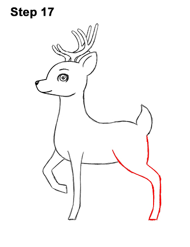 How to draw cute cartoon deer antlers 17