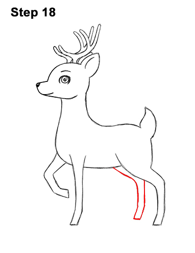 How to Draw Cute Cartoon Deer Antlers 18