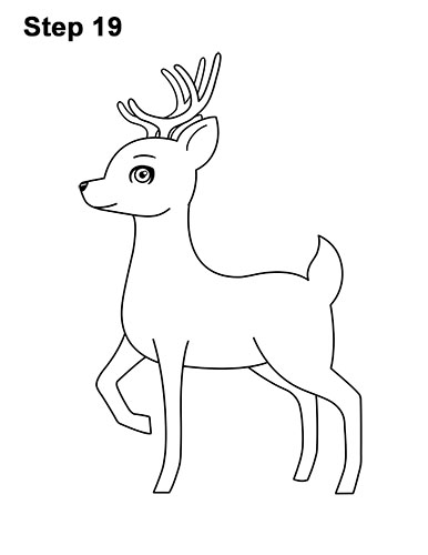 How to Draw Cute Cartoon Deer Antlers 19