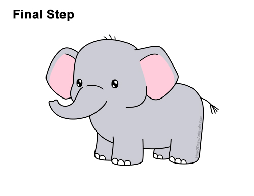 How to Draw a Elephant (Cartoon) VIDEO & Step-by-Step Pictures