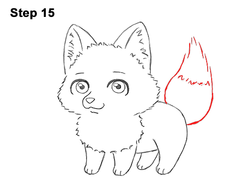 Draw Cute Cartoon Red Fox Chibi Little Mini 15