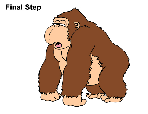 How To Draw Funny Cartoon Gorilla Last