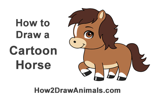 How to Draw a Cute Cartoon Horse Pony Chibi Little Mini