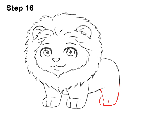 Draw cute cartoon lion chibi little mini 16