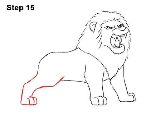 How to Draw Tough Cool Angry Cartoon Lion Roaring 15