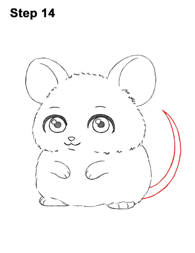 Draw a Cute Chibi Little Mini Cartoon Mouse 14