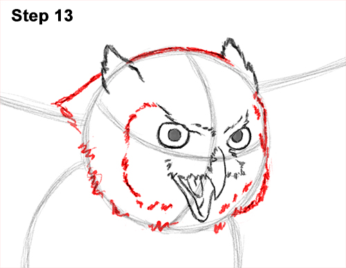How to Draw a Great Horned Owl Flying Hunting Wings 13