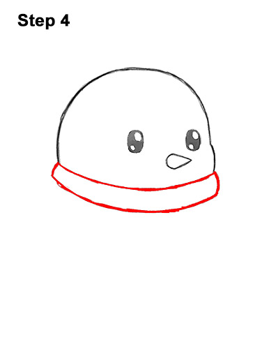 How to Draw Cute Cartoon Penguin Scarf 4