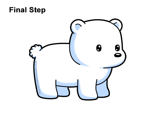 How To Draw A Polar Bear (Cartoon) VIDEO & Step-by-Step
