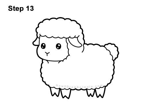 How to Draw a Sheep (Cartoon) VIDEO & Step-by-Step Pictures