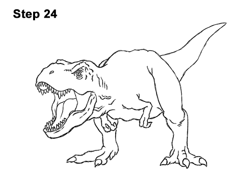 How To Draw A T Rex Roaring Video Step By Step Pictures