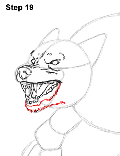how to draw wolf teeth