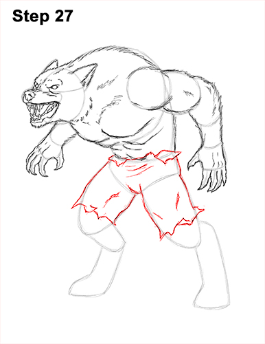 How to Draw Growling Snarling Scary Angry Werewolf 27