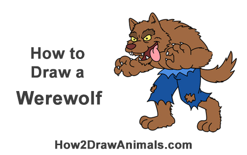 How to Draw Cartoon Werewolf Wolf Monster Halloween