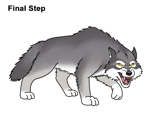 how to draw a wolf growling (cartoon)