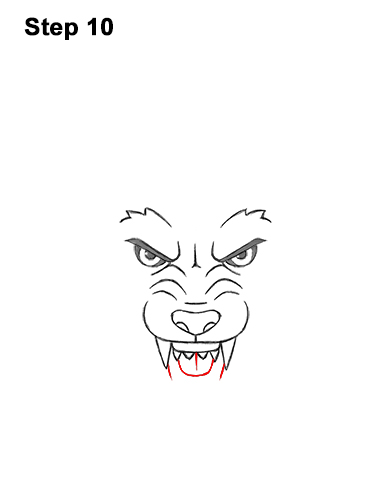 How to Draw Angry Growling Snarling Cartoon Wolf Head 10