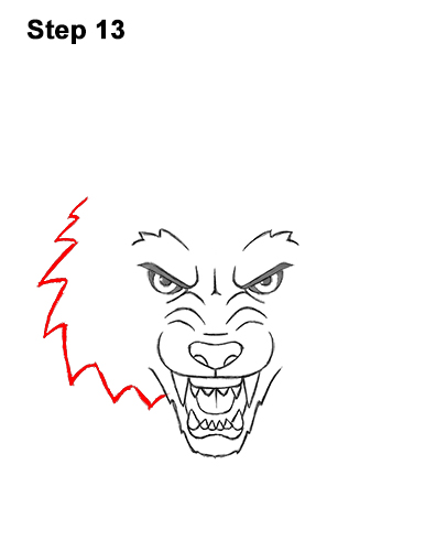 How to Draw Angry Growling Snarling Cartoon Wolf Head 13