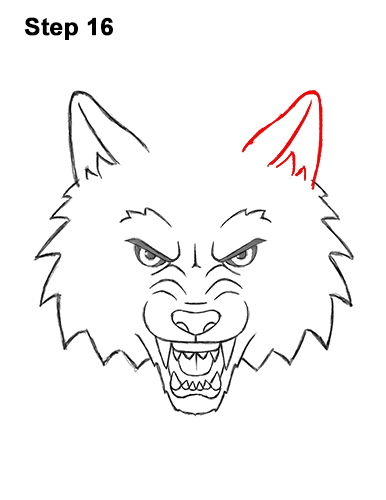 How to Draw Angry Growling Snarling Cartoon Wolf Head 16