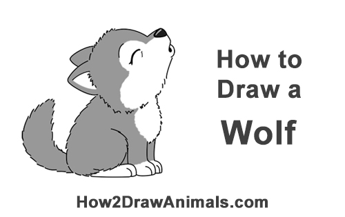 Elegant How To Draw Cute Little Cartoon Wolf Pup Cub Howling