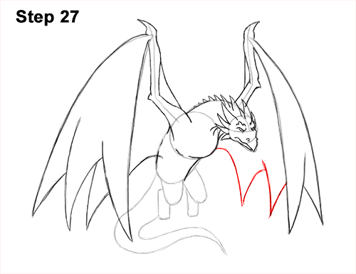 How to Draw Wyvern Dragon Wings Flying 27