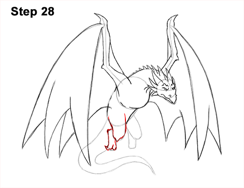 How to Draw Wyvern Dragon Wings Flying 28