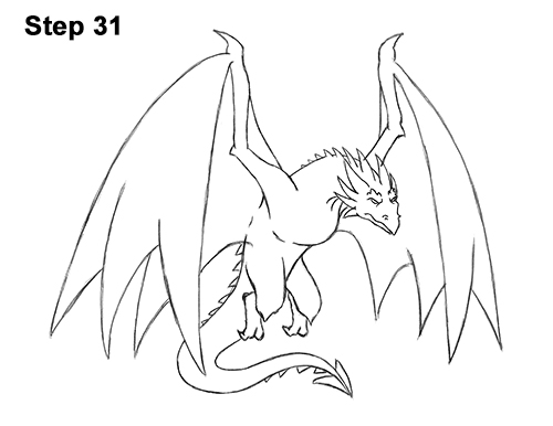 How to Draw Wyvern Dragon Wings Flying 31