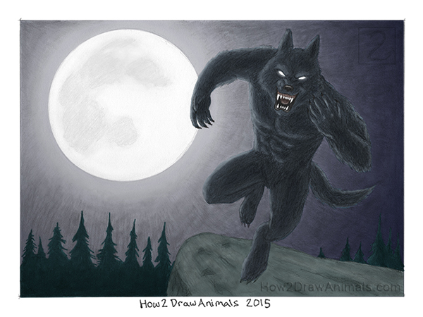 Jumping Werewolf Drawing