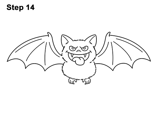 How to Draw Angry Funny Cute Halloween Cartoon Bat 14