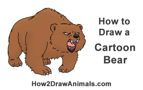 How to Draw a Angry Mean Growling Roaring Cartoon Wolf