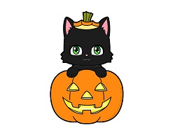 How to Draw a Cute Cartoon Black Cat in a Jack-o'-Lantern Halloween