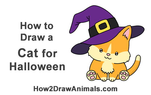 How to Draw a Cat Wearing a Witch\u0027s Hat for Halloween VIDEO
