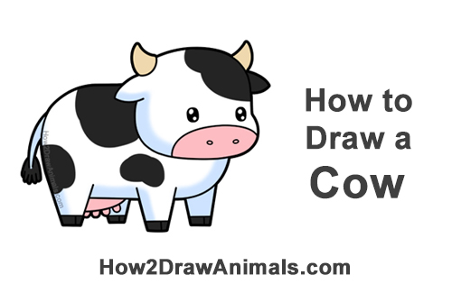 How to Draw Cute Cartoon Cow Chibi Kawaii