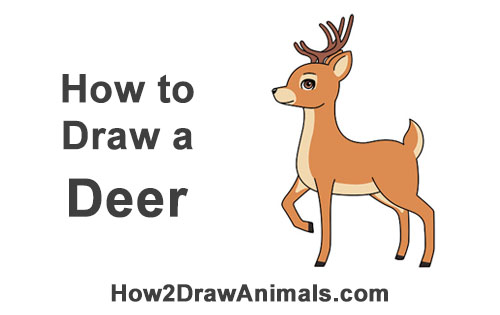 How to Draw Cute Cartoon Deer Antlers Christmas