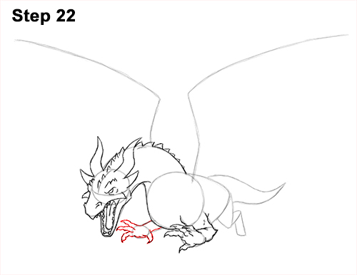 How to Draw Dragon Flying Fire Wings Flames 22