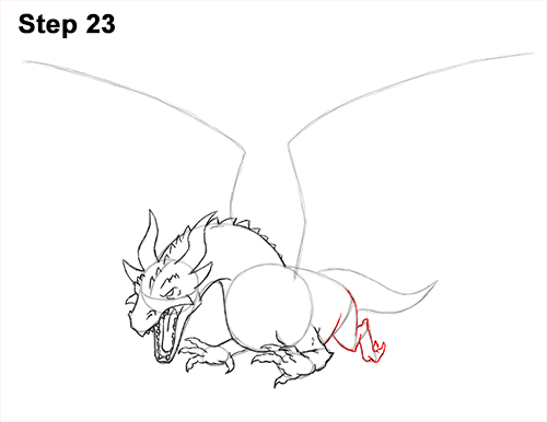 How to Draw Dragon Flying Fire Wings Flames 23