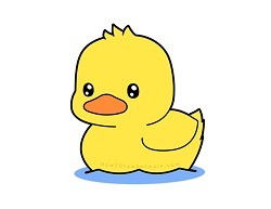 How to Draw a Cute Kawaii Cartoon Duck Duckling Swimming Water