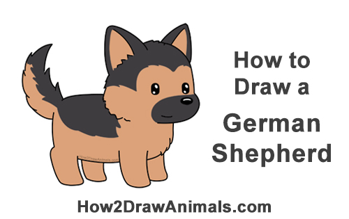 How to Draw a German Shepherd Puppy Dog (Cartoon) VIDEO