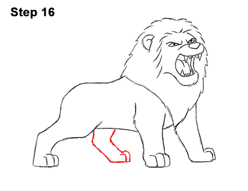 How to Draw Tough Cool Angry Cartoon Lion Roaring 16